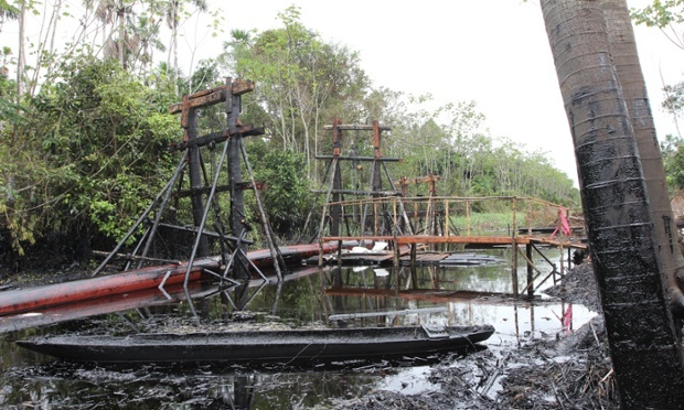 Scaffolding holds up a broken section of the oil pipeline. Photograph: Barbara Fraser
