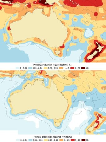 Estimates of the footprint of fisheries in Australian and New Zealand oceans in the 1950s compared to in the 2000s. (Supplied: Professor Daniel Pauly)