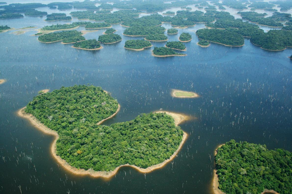 Brazil's Balbina Dam led to the creation of 3,546 islands, many small and isolated, in an area that was once continuous rainforest. Photograph by Eduardo M. Venticinque