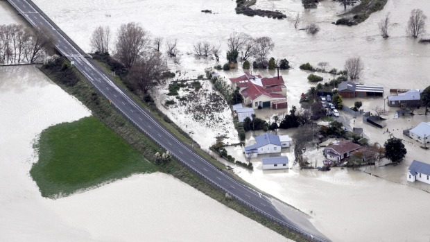 Houses in Whangaehu after the Whangaehu River breached its banks in weekend flooding.