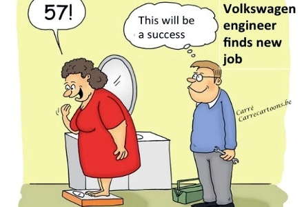 Cartoon -VW engineer's new job