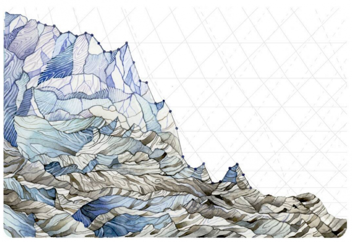 Glaciers are losing mass in the North Cascades, where Pelto's father has done work for decades monitoring glacier retreat and related changes. Annual glacier mass balance data is represented in the painting. Jill Pelto
