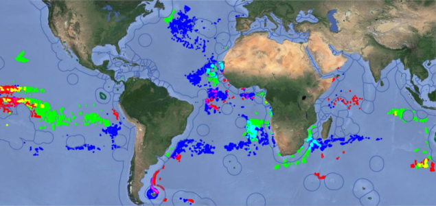 Global Fishing Watch's software allows commercial fishing activity to be tracked in real-time using a combination of data from satellites and ships' on-board systems. | Image Credit: Global Fishing Watch