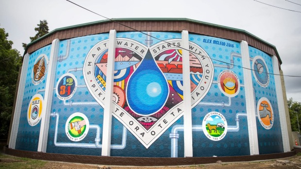 Alex McLeod's smart water mural on a Hamilton city water tower.