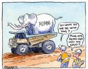 Adani's White Elephant. Illustration: John Spooner