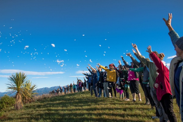 Farewell ceremony for the Hutton's shearwaters from the Kaikoura peninsula, Te Rae o Atiu.