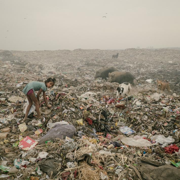 In a dump in Bhalswa, Delhi, that seems to stretch for miles, a young girl searches for plastic. Photograph by Matthieu Paley, National Geographic