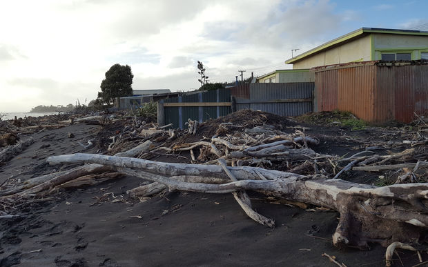 Driftwood and more was washed up by the storm, and there are concerns the erosion will continue. Photo: RNZ / Robin Martin