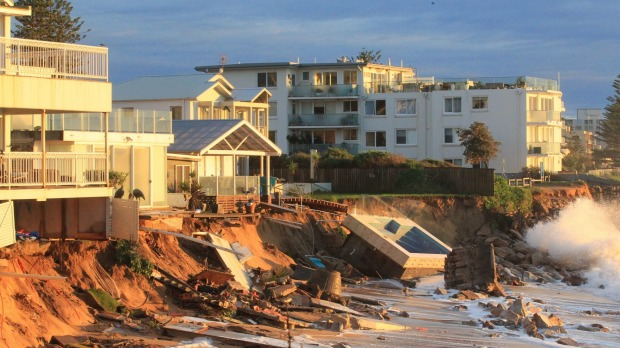 Houses at Collaroy Beach front got smashed by the weekend storm surge. Photo: Peter Rae