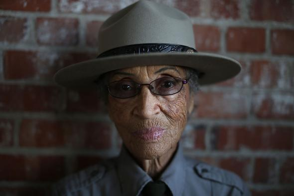 Betty Reid Soskin poses for a portrait at the Rosie the Riveter World War II Home Front National Historical Park in 2013.