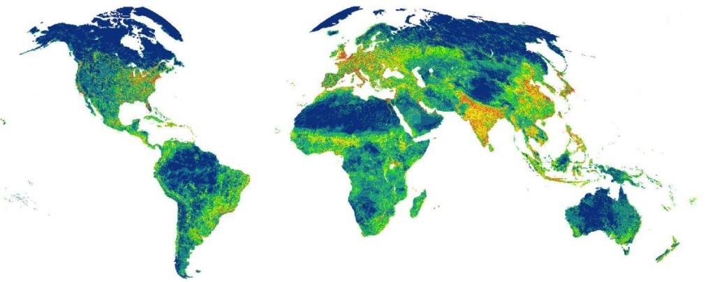 A new study has found that humans' impact on the environment has grown, but slightly slower than expected. In this map, the orange places are those that face the highest pressure from humans. The blue areas face the least pressure. Courtesy Oscar Venter