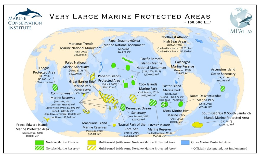 The largest MPAs, updated March 2016. The Hawaii reserve is now four times larger. MPAtlas.org, CC BY-NC-SA