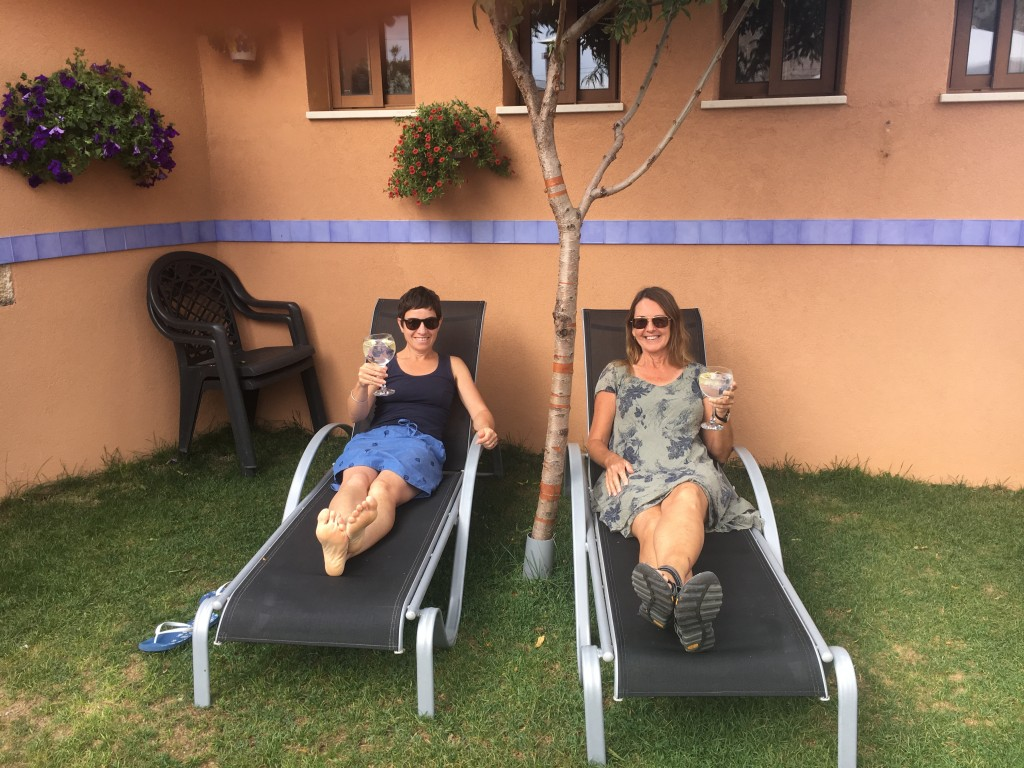 Enjoying a bucket of gin and tonic in our resort style surroundings at Los Arancones in Tosantos.