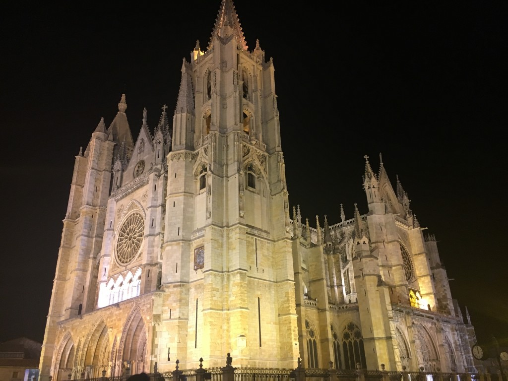 The cathedral in Leon.  Magnificent and even more so lit up in the evening
