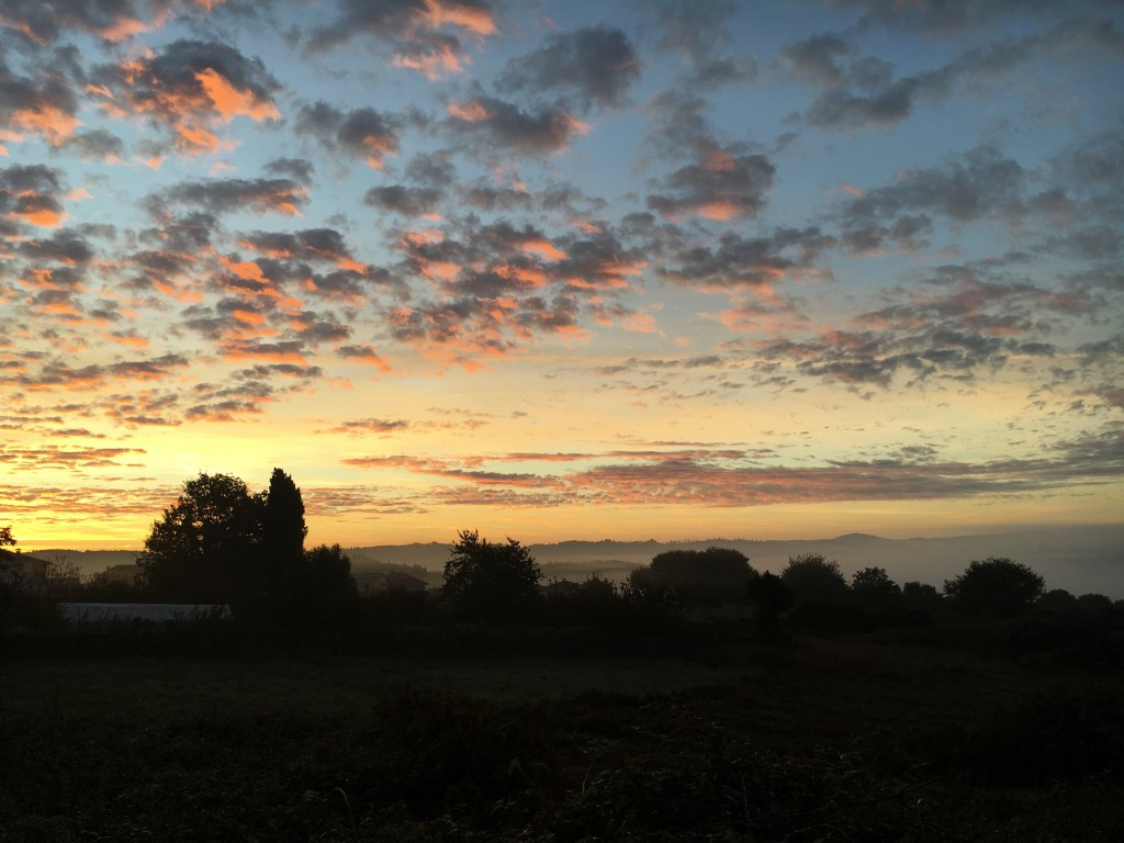 Sunrise and morning mist in the valleys.