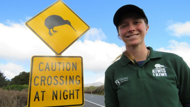 DOC Ranger Jenny Hayward is happy to see more signs warning motorist to watch out for kiwis. Photo: Frances Ferguson / Stuff