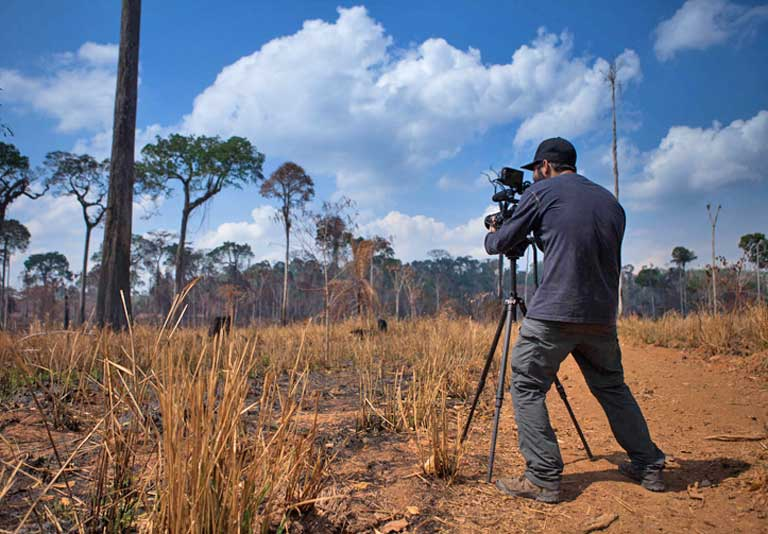 Documentary director, Marcio Isensee e Sá filming illegal cattle pasture in Jamanxim National Forest, a protected area located in Novo Progresso municipality, Pará state. Image by Bernardo Camara.