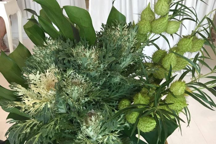 Photo: A punter at a local wedding expo recently spotted this arrangement, which contains noxious cotton weed. (Supplied)