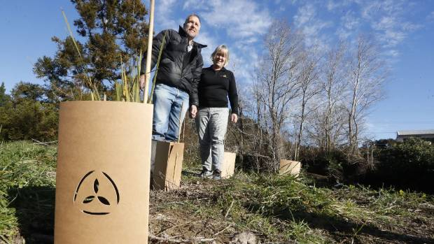 "Jan and Robert Fryer say their biodegradable plant guards are deceptively simple and break down to become ""part of the environment"". Photo: Martin De Ruyter/ Stuff"