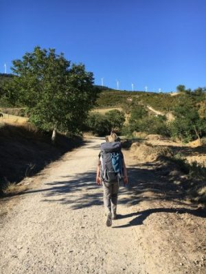 Author walking The Camino with wind turbines in the distance... contemplating a path to sustainable development