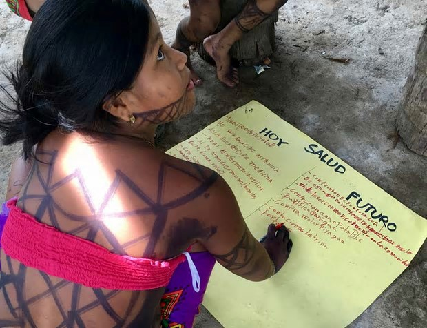 An Embera woman from the Bajo Lepe community in Panama featured in the UN Special Rapporteur's recent report. Bajo Lepe still does not have title to its land. Photograph: Cameron Ellis/Rainforest Foundation US