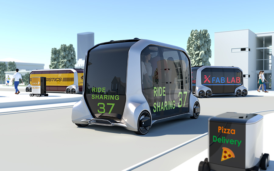 A concept design for the new e-Palette. The fully automated, electric vehicle will be in use during the games.