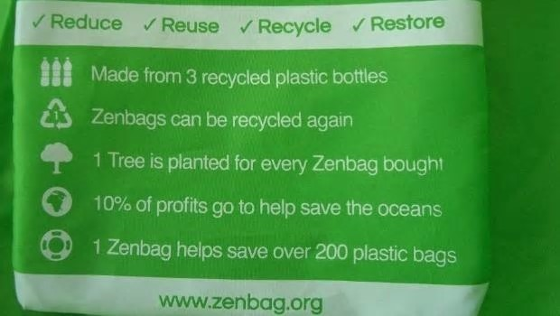 One of the Zenbags made out of recycled plastic bottles. Photo: Supplied