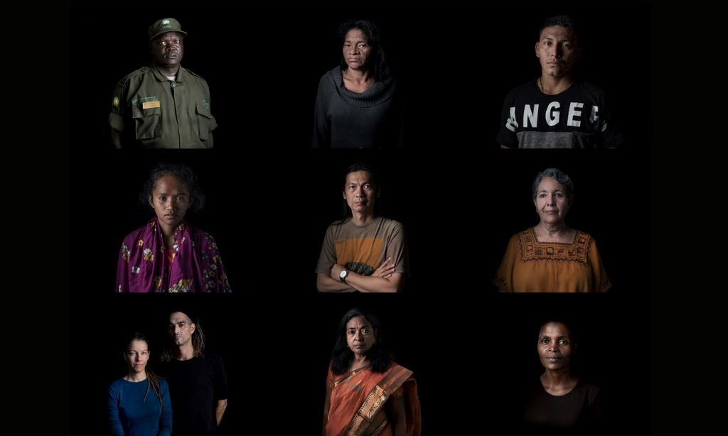 Nine of the activists defending the Earth. Top row, from left: Samuel Loware, Maria do Socorro Silva, Ramón Bedoya; centre row: Marivic Danyan, Robert Chan, Isela González; bottom row: Tuğba Günal and Birhan Erkutlu, Fatima Babu, Nonhle Mbuthuma. Photograph: Thom Pierce/Guardian/Global Witness/UN Environment