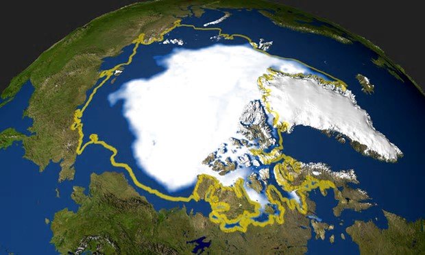 Nasa satellite photo of the minimum extent of Arctic sea ice in 2005 that occurred on September 21, when the sea ice extent dropped to 2,05 million square miles (53 094 969 million square kilometers). Photograph: HO/AFP/Getty Images