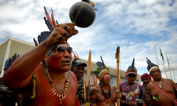 Members of the Kanela, Gaviao and Guajajara indigenous groups protest against the encroachment of ranchers on their traditional lands Photograph: AFP/Getty Images