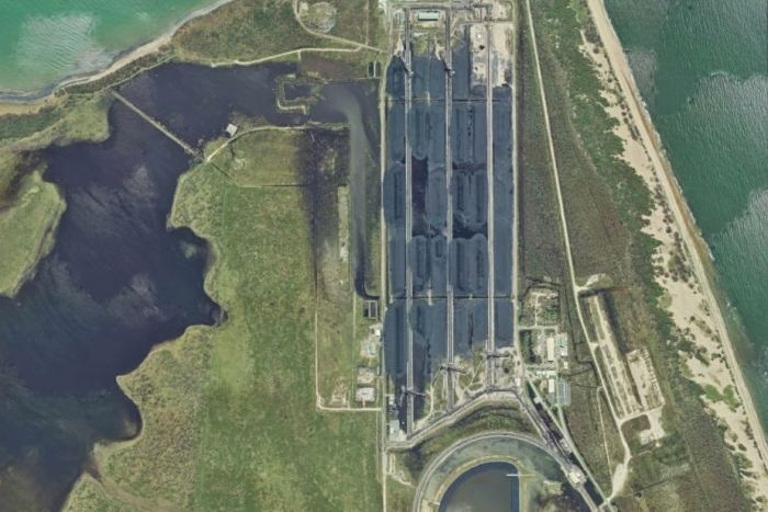 Photo: A Queensland Government satellite image of the Calely Wetlands and the Abbot Point coal terminal after Cyclone Debbie. (Supplied: Queensland Government)
