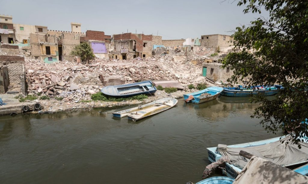 The rubble left after demolition of houses on the waterfront at El Max, near Alexandria, where homes are regularly flooded. All photographs by Sima Diab for the Guardian