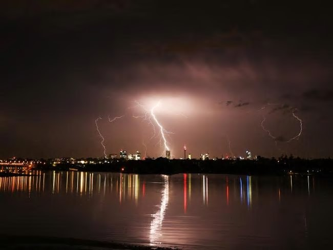 An impressive lightning storm passes over the Sydney CBD. Picture: Rohan KellySource:News Corp Australia