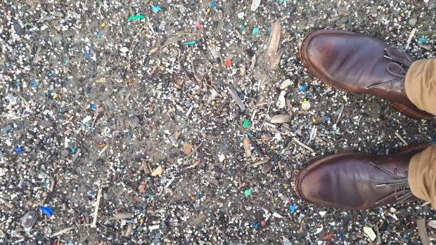 Small pieces of plastic litters the coast at Evans Bay in Wellington. This photo was taken on the day of the Government's bag phase-out announcement. Photo: Sustainable Coastlines