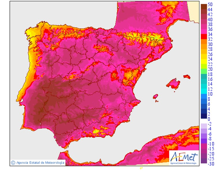 Maximum temperatures for August 6, with large areas well into the 40s. Agencia Estatal de Meteorología (AEMET)