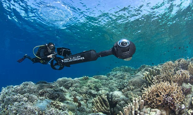 A scientist conducts a reef survey using a scooter with a 360 degree camera set up in Manado, Indonesia. Photograph: The Ocean Agency/The Ocean Agency funded by Paul G. Allen Philanthropies
