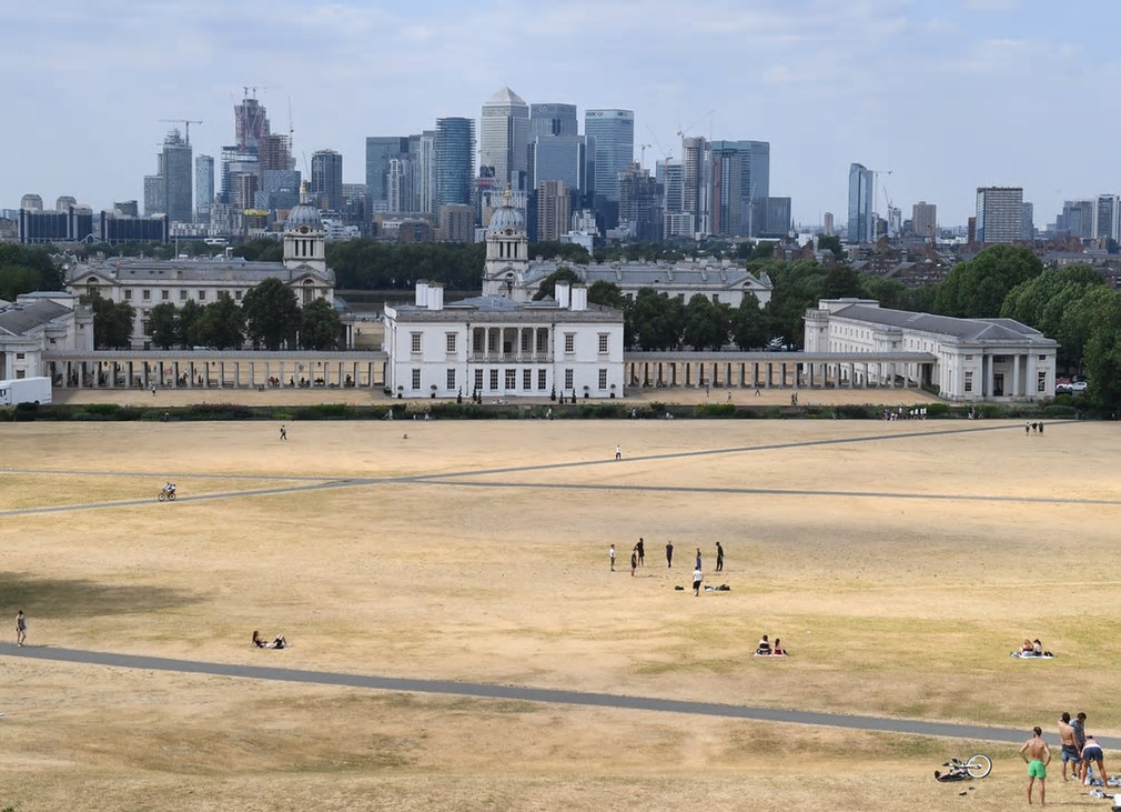 A view of the parched Greenwich Park in London. Health warnings were issued during record-breaking temperatures in some parts of the country. Photograph: Facundo Arrizabalaga/EPA