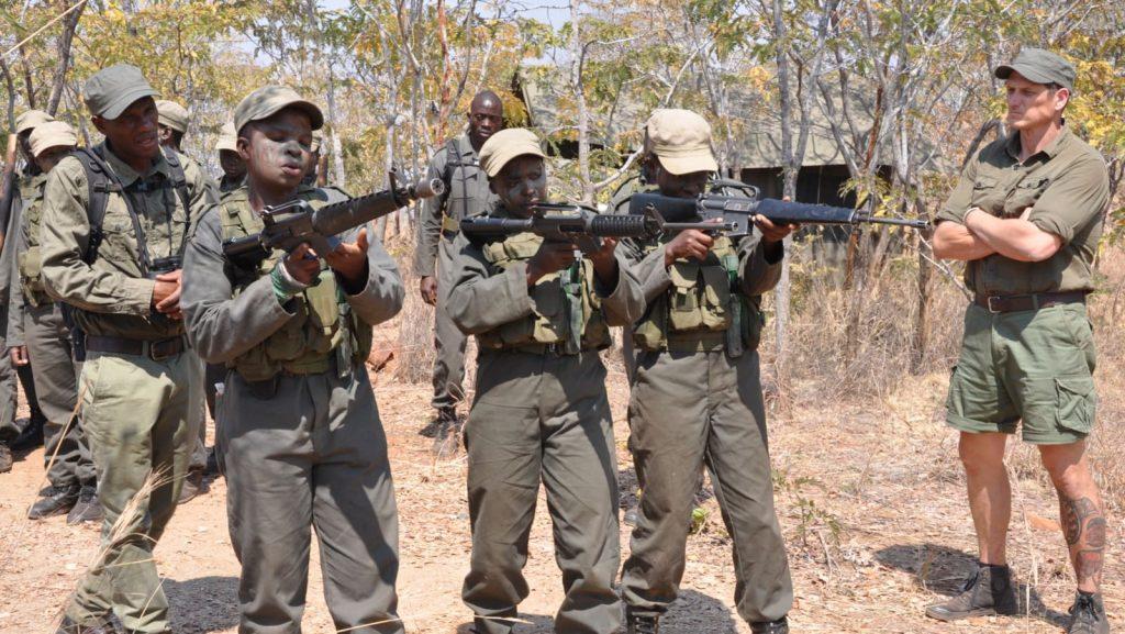 Damien Mander trains wildlife rangers in military tactics in Zimbabwe. Photo: International Anti-Poaching Foundation