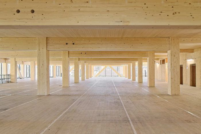 Photo: The engineered timber is prefabricated and precision-cut. (Supplied: Lendlease)