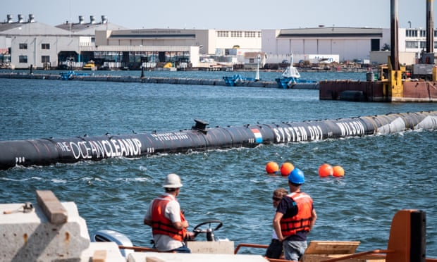 The 600m-long floating barrier, known as System 001, will be launched off the coast of California. Photograph: System 001/Ocean Cleanup