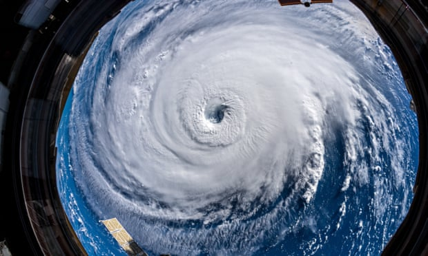 A handout photo made available by European Space Agency (ESA) shows Hurricane Florence seen from the International Space Station (ISS), in space, on Wednesday. Photograph: Alexander Gerst/ESA/Nasa Handout/EPA
