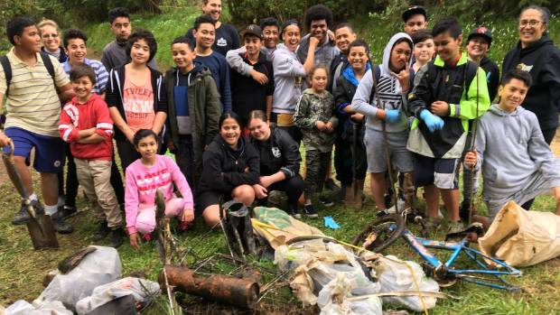Natone Park School pupils with some of the mess they helped clean out of Bothamley Park on September 24. Photo: Supplied