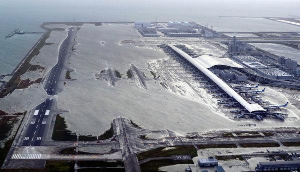 Kansai airport, which serves Osaka, Kyoto and Kobe, was inundated this past week when a typhoon hit Japan.CreditCreditKentaro Ikushima/Mainichi Newspaper, via Associated Press