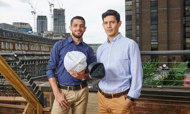 Designers of the O-Wind Turbine, Nicolas Orellana (r) and Yaseen Noorani. Photograph: Company handout