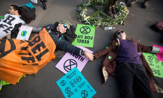 Members of the recently formed Extinction Rebellion group in Westminster on Wednesday. Photograph: Graeme Robertson for the Guardian
