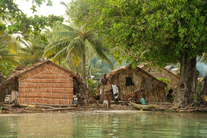 Ngadeli village in Temotu Province, Solomon Islands, is threatened by sea level rise. Photo: Britt Basel