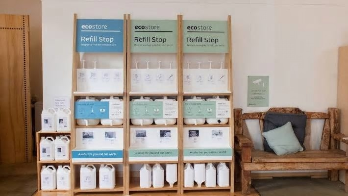 Ecostore has about 60 refill stations for laundy and other liquid cleaners. Photo: Supplied