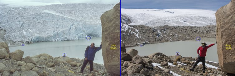 Two photos taken from the same location 15 years apart shows the extent of glacier retreat on world's largest tropical ice cap at Quelccaya, Peru. Doug Hardy, CC BY-SA